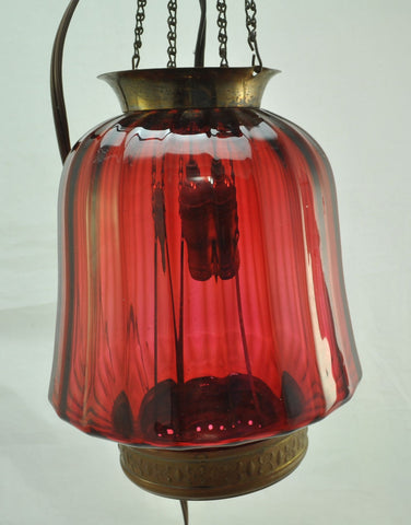 Antique Ribbed Cranberry Glass Blown Hanging Lamp Electrified