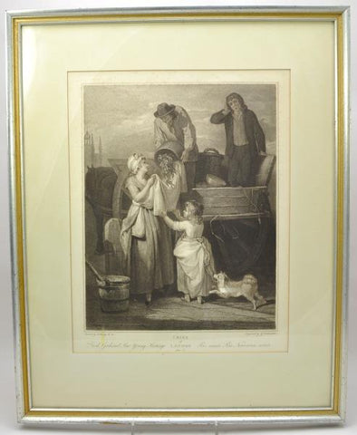 "Original Stipple Engraving Wheatley ""Fresh Gathered Peas"" Cries of London 1795"