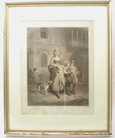"Original Stipple Engraving Wheatley ""Two Bunches a Penny"" Cries of London 1790s"