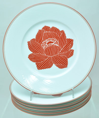 Set of 6 Dansk Bamboo Rust Floral Dinner Plates Near Mint Condition