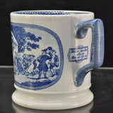 Antique Blue Transfer Staffordshire Dr Syntax Loving Cup Mug 19th Century