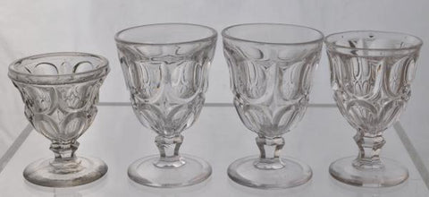 Set of 4 Rare Excelsior Pattern Flint Glass EAPG Egg Cups 1860