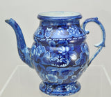Antique Dark Blue Staffordshire Floral Coffee Pot circa 1825 AS IS