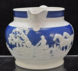 Antique Staffordshire Fox Hunt at the Kill Stoneware Pitcher circa 1815