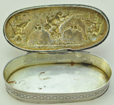 Antique French Silver Flying Cupids with Doves Snuff Box 19th Century