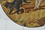 "Large Antique Artist Signed French 15"" Handpainted Dog Porcelain Charger"