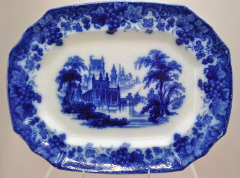 "Antique Furnival ""Gothic"" 16 Inch Staffordshire Flow Blue Platter circa 1850"