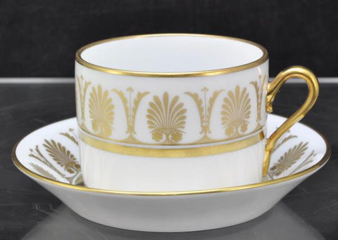 Set of 8 Vintage Richard Ginori Gold Pompei Tea Cups and Saucers MINT