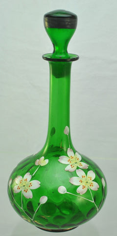 Antique Enameled Green Glass Floral Decanter circa 1900