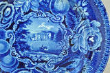 Antique Pains Hill Surrey Dark Blue Staffordshire Transferware Plate As Is