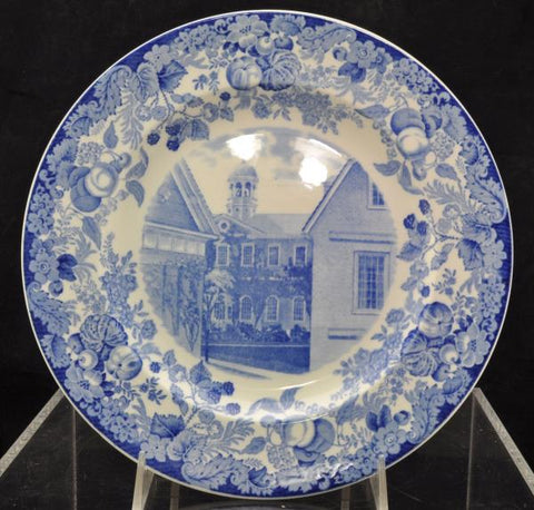 Rare Harvard University 1927 Harvard Hall A Blue Wedgwood Plate