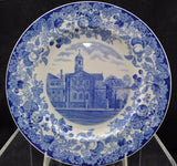 Rare Harvard University 1927 Harvard Hall B Blue Wedgwood Plate
