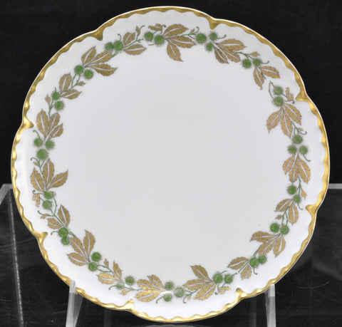 Antique Set of 12 Haviland Limoges Gold and Green Porcelain Chestnut Plates