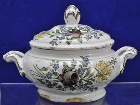 Antique 18th century German Hoechst Höchst Faience Covered Server