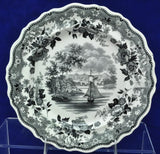 John&Job Jackson Black Transfer Historical Staffordshire Plate Hartford CT 1833