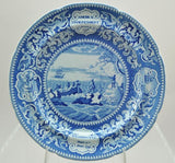 Set of 5 Antique Blue Staffordshire Landing of the Fathers 10 Inch Plates 1820