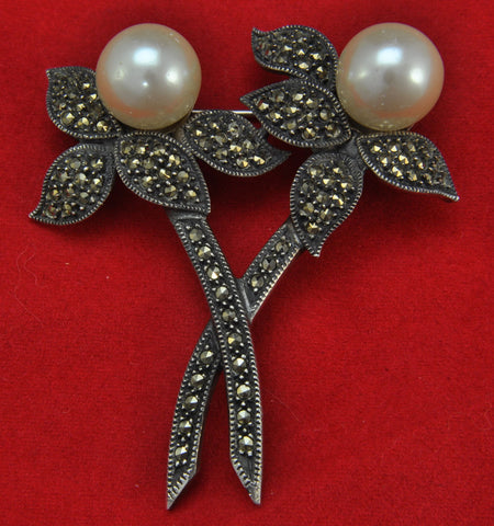 Vintage Marquisite and Reproduction Pearl Brooch Pin