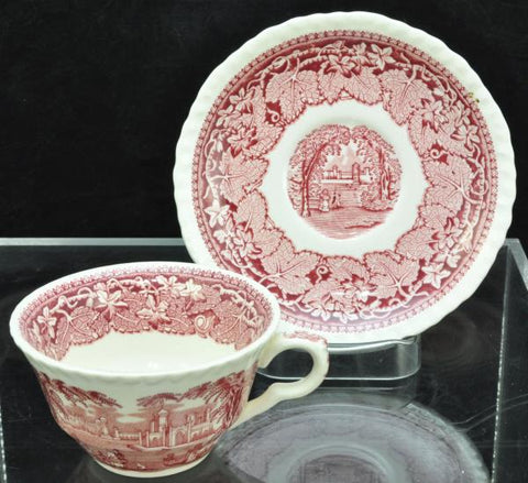 Set of 6 Vintage Masons Pink Vista Tea Cups and Saucers