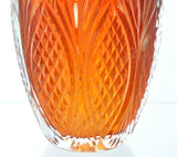 Heavy Cut Cased Glass Orange Amber Oval Vase Signed McDermott Ayotte 2008