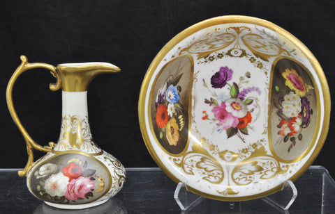 Antique Derby Flower Painted Miniature Doll's Pitcher and Basin circa 1800