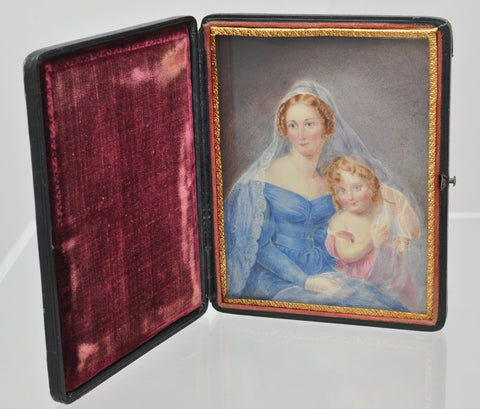 Exquisite William IV Watercolor of Mother and Child in Leather Case 1835