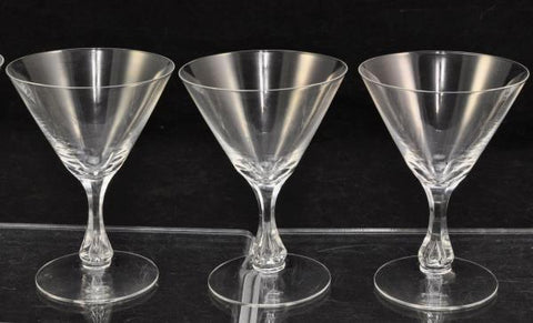 Set of 7 Orrefors Coronation Cut Crystal 4 1/2 Inch V Shaped Cocktail Glasses