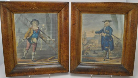 Pair of Original 18th Century Carpenter Hand Colored Character Engravings 1790