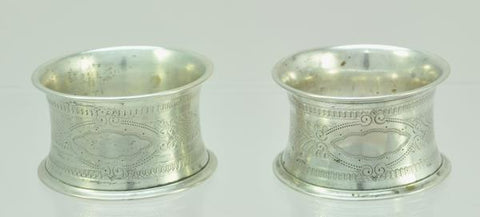 Pair of German 800 Silver Napkin Rings late 19th Century No Monogram