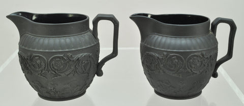 Pair Antique Wedgwood Black Basalt UK Four Nations Scroll Creamers 19th Century