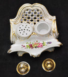 Antique Floral Old Paris Porcelain Floral Reticulated Inkstand circa 1840