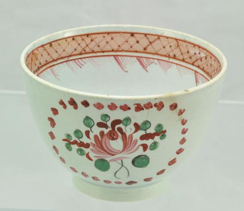 Chinoiserie Pink Floral Hand Painted Pearlware Cup c 1810
