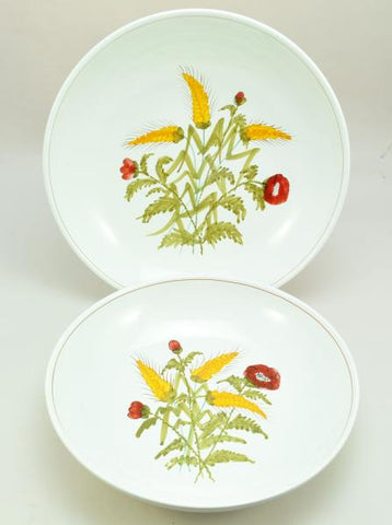 Pair of Hand Painted Italian Faience Harvest Large Spaghetti Bowls Pippo Cetona