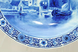 Antique Royal Delft De Porceleyne Fles Hand Painted Blue & White Charger 1908