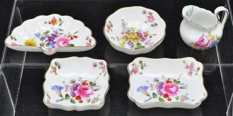 Set of 4 Vintage Royal Crown Derby Hand Painted Floral Trinket Trays