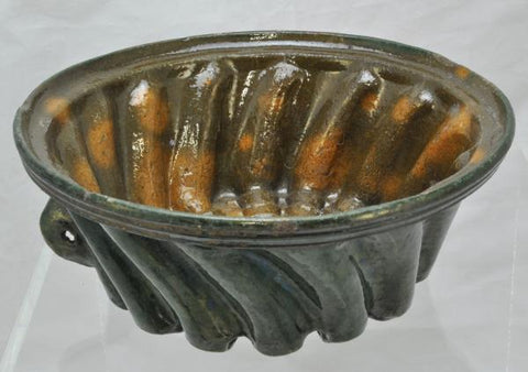 Large Antique Redware Swirl Pudding Food Mold Flint Glaze 19th Century