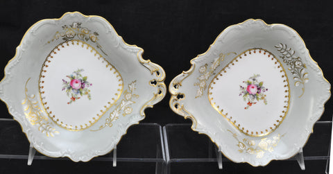 Pair Antique Ridgway Ironstone Hand Painted Gray Flower Dessert Dishes 1830