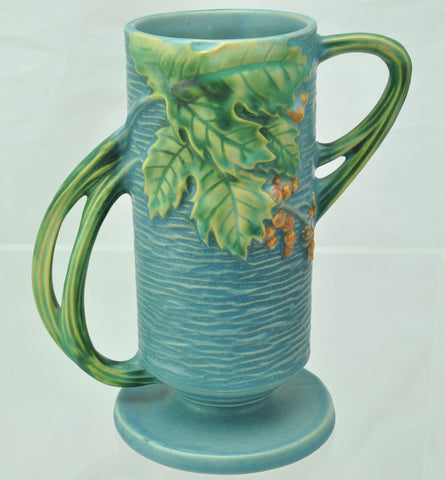 Vintage Roseville Blue Bushberry Footed Vase 32-7 Excellent Condtion