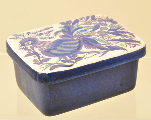 Royal Copenhagen Fajance Hand Painted Rooster Covered Box Mid Century Modern