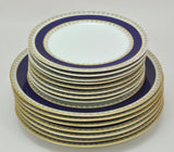 Antique Royal Worcester 17 Piece Partial Dinner Service Cobalt Gold Brown 1886