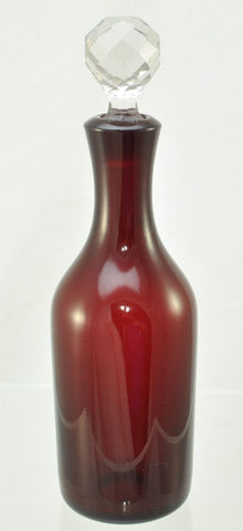 Vintage Ruby Blown Glass Decanter