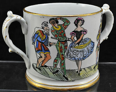 Antique Elsmore Forster Harlequin Columbine Enameled Loving Cup Mug 19th Century