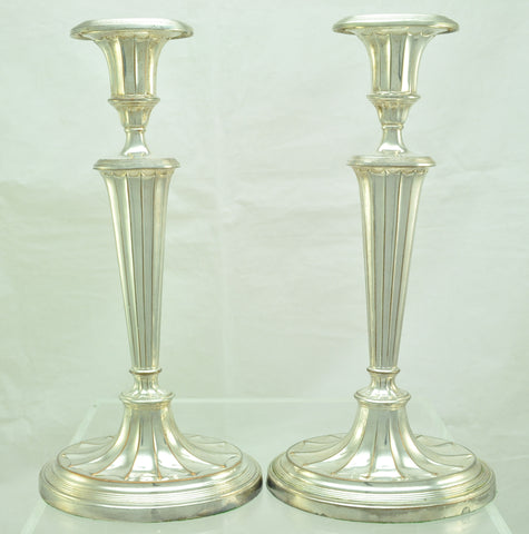 Pair of Antique Victorian Fluted Silver Plate Candlesticks Late 19th Century