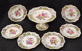 Carl Thieme Antique Dresden HP Floral Porcelain 7 Piece Dessert Set 19th Century