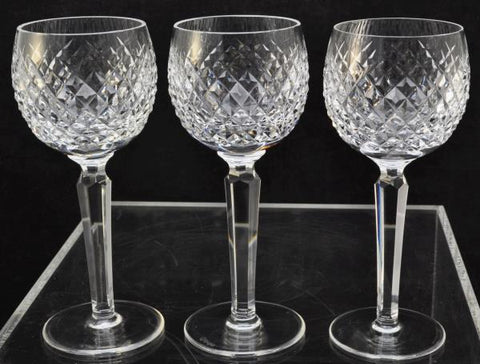 Set of 3 Waterford Cut Crystal Alana 7 1/2 Inch Wine Hock Glasses