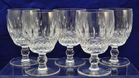Set of 5 Waterford Cut Crystal Colleen 5 1/4 Inch Water Goblets