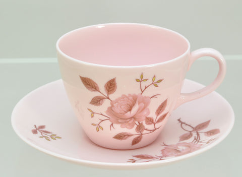 Wedgwood Pink Alpine Rose Teacup and Saucer circa 1960