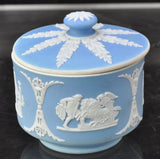 Antique Wedgwood Blue Jasper Jasperware Round Trinket Box