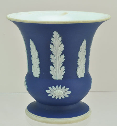 Wedgwood Cobalt Jasperware Jasper Dip Urn Vase 20th Century AS IS