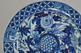 "Two Original Antique Wedgwood Blue Transfer ""Hibiscus"" Plates c 1815"