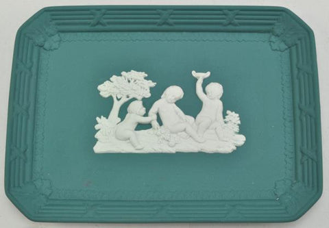 Antique White on Teal Jasper Rectangular Tray 20th Century